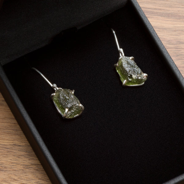 Moldavite Jewelry - Pendant Necklace and Earrings