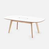 meeting table multiple people dining lunch conference call deskstand