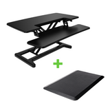 X-Cove sitstand desk height adjustable converter standing desk and gorilla anti fatigue mat
