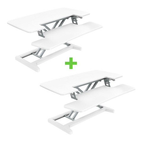 2 x X-COVE (White) Sit-Stand Standing Desk Converter COMBO