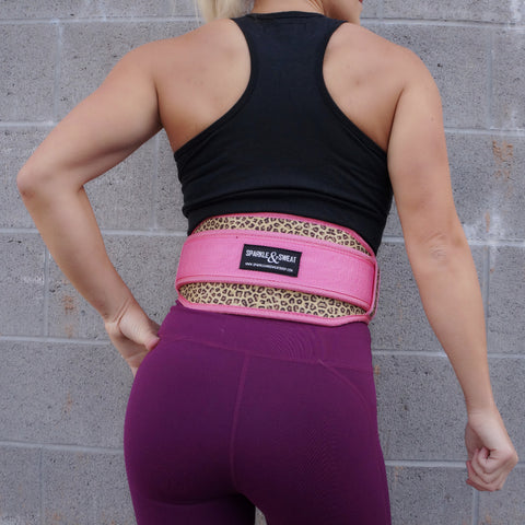 Pink Cheetah Weightlifting Belt