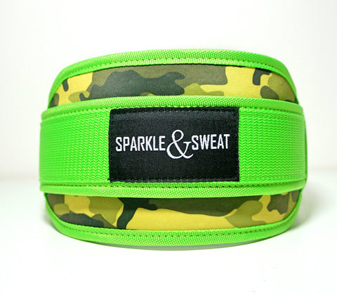 Neon Camo Weightlifting Belt