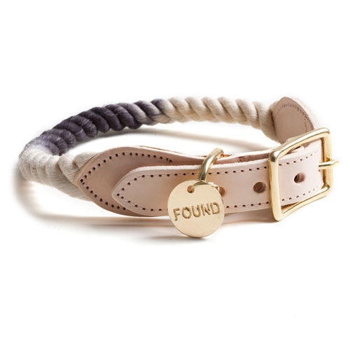Found My Animal Rope & Leather Collar - Black Ombre
