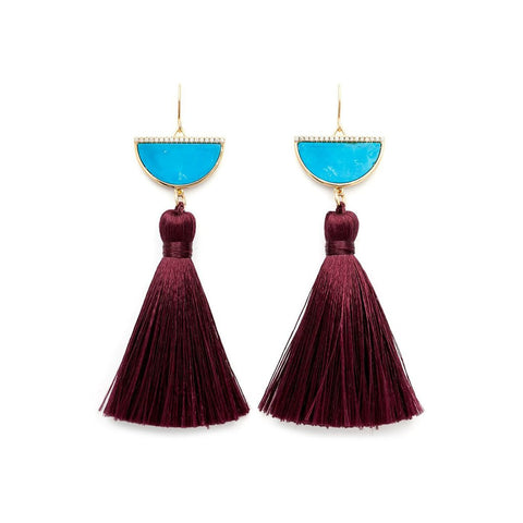 Melanie Auld Half Moon Tassel Earrings - Blue Howlite / Wine