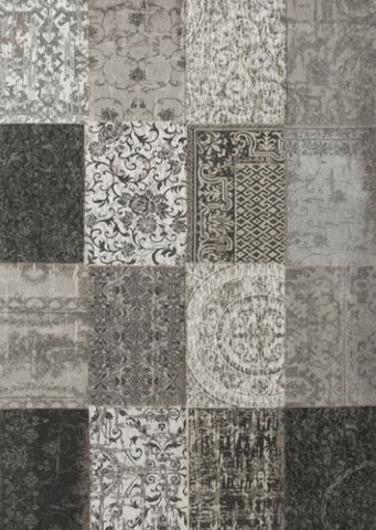 Alfombra moderna modelo PATCHWORK CHENILLE color base Gris