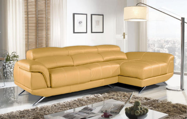Chaiselongue modelo RIVIERA en piel color Amarillo