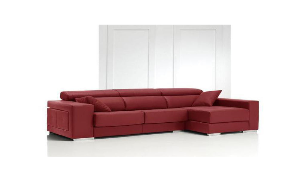 Chaiselongue modelo SAKI en piel color rojo