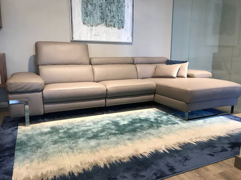 chaiselongue moderno en piel color topo - chaiselongues de diseño en Madrid