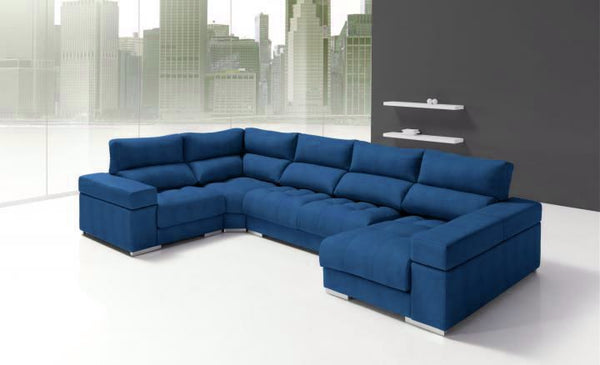 Rinconera con chaiselongue modelo gema en tela sidivani for Sofas baratos madrid outlet