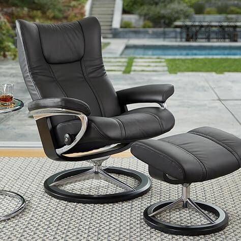 Sillon STRESSLESS modelo WING pie Signature en Batick Grey