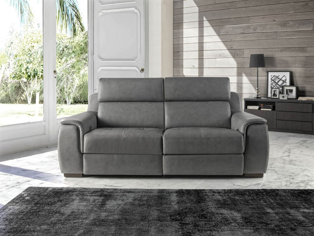 Sof modelo europa en piel color gris sidivani for Sofas piel madrid