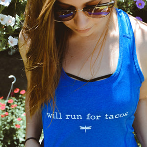 """Will Run For Tacos"" Women's Athletic Tank"