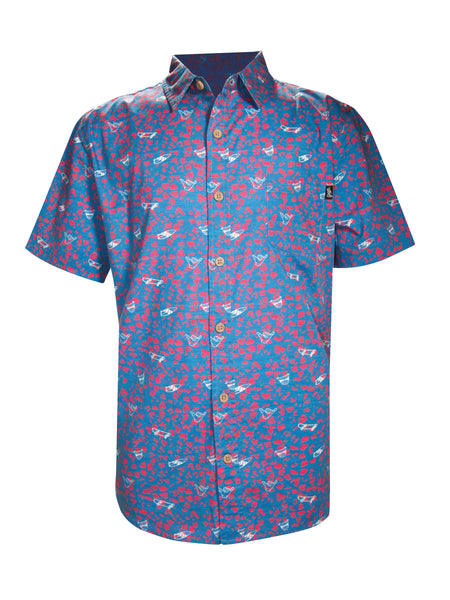 DIAMOND PRINT STRETCH BUTTON UP