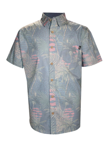 DECO PALM STRETCH BUTTON UP
