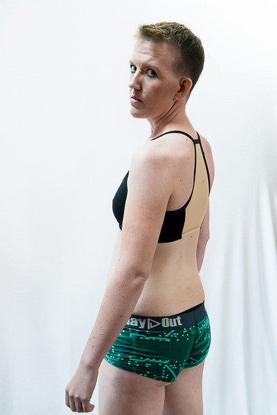 Model wearing Jennifer Sports Bra and Wired Boxer Briefs