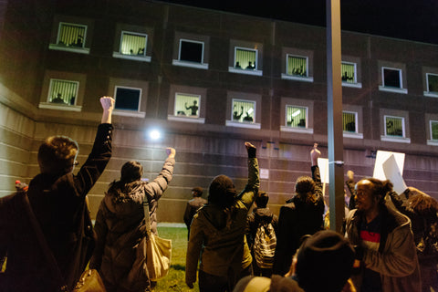 """One """"Black Lives Matter"""" rally in Boston led protestors to the South Bay Correctional Facility, where prisoners joined the protest."""