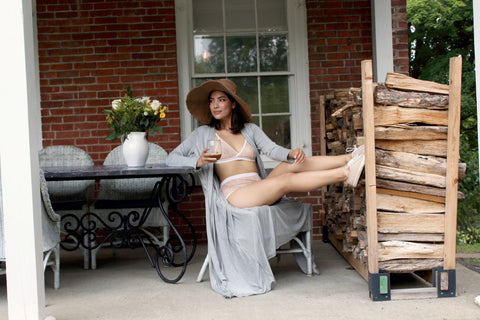Peach Petal Play set, Grey Robe. btslingerie.com