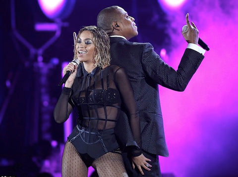 "Beyonce and Jay-Z performing ""Drunk in Love"" at the 2014 Grammy Awards."
