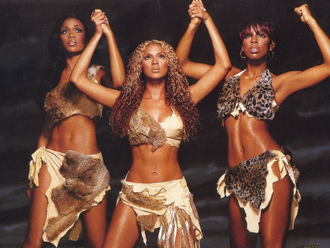 "Destiny's Child ""Survivor"" video. Michelle Williams (L), Beyonce (C), Kelly Rowland (R)."