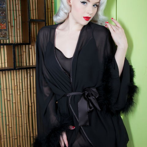 Bettie Page Ostrich Faux Feather Robe