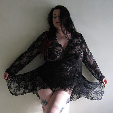 Daphne Black Lace Ballet Wrap Robe - Bluestockings Boutique  - 1
