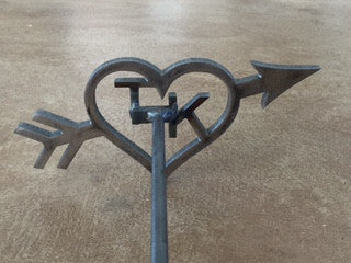 Custom Hollow Heart with 2 initials with Arrow