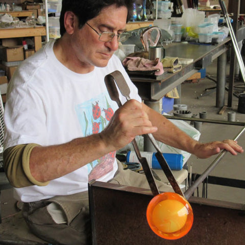 Neil Duman in glass studio
