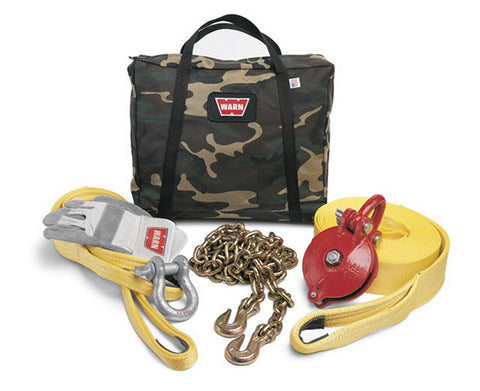 Heavy Duty Winching Accessory Kit - Incl. Recovery Strap - Gloves - Shackle - Choker Chain - Snatch Block - Tree Trunk Protector - Camouflage Case