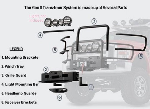 Gen II Trans4mer - Light Bar -  OPTIONAL -  Stainless - Requires Winch Carrier Kit & Grille Guard