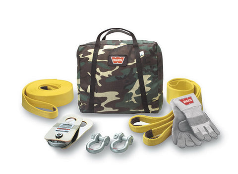 Medium Duty Winching Accessory Kit - Incl. Gloves - 2 Shackles - Snatch Block - Tree Trunk Protector - Camouflage Case