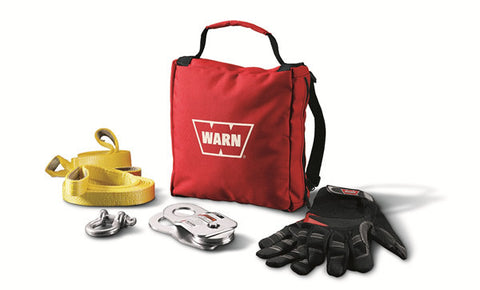 Light Duty Winching Accessory Kit - Incl. Gloves - Shackle - Snatch Block - 2 Tree Trunk Protectors - Denier Carry Bag