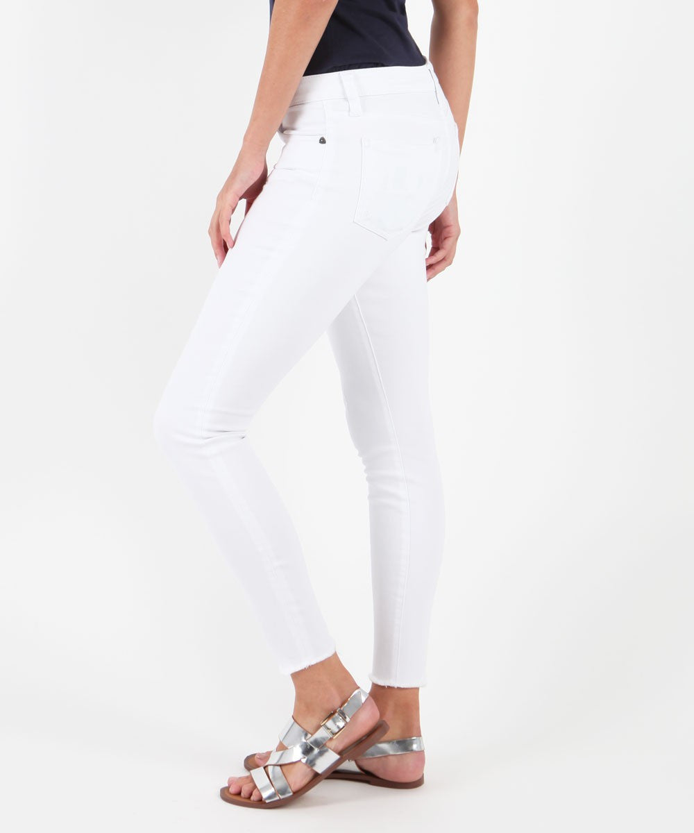 Connie Ankle Skinny Fray Hem (White Wash)