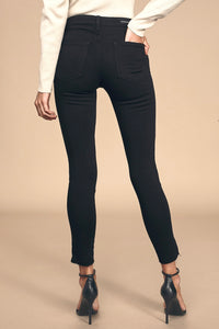 Leopard Piping Skinny Denim - Black
