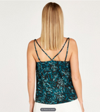 BLACK LEAF PRINT X BACK CAMI TOP