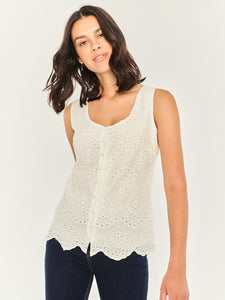 Cream Broderie Angaise Top