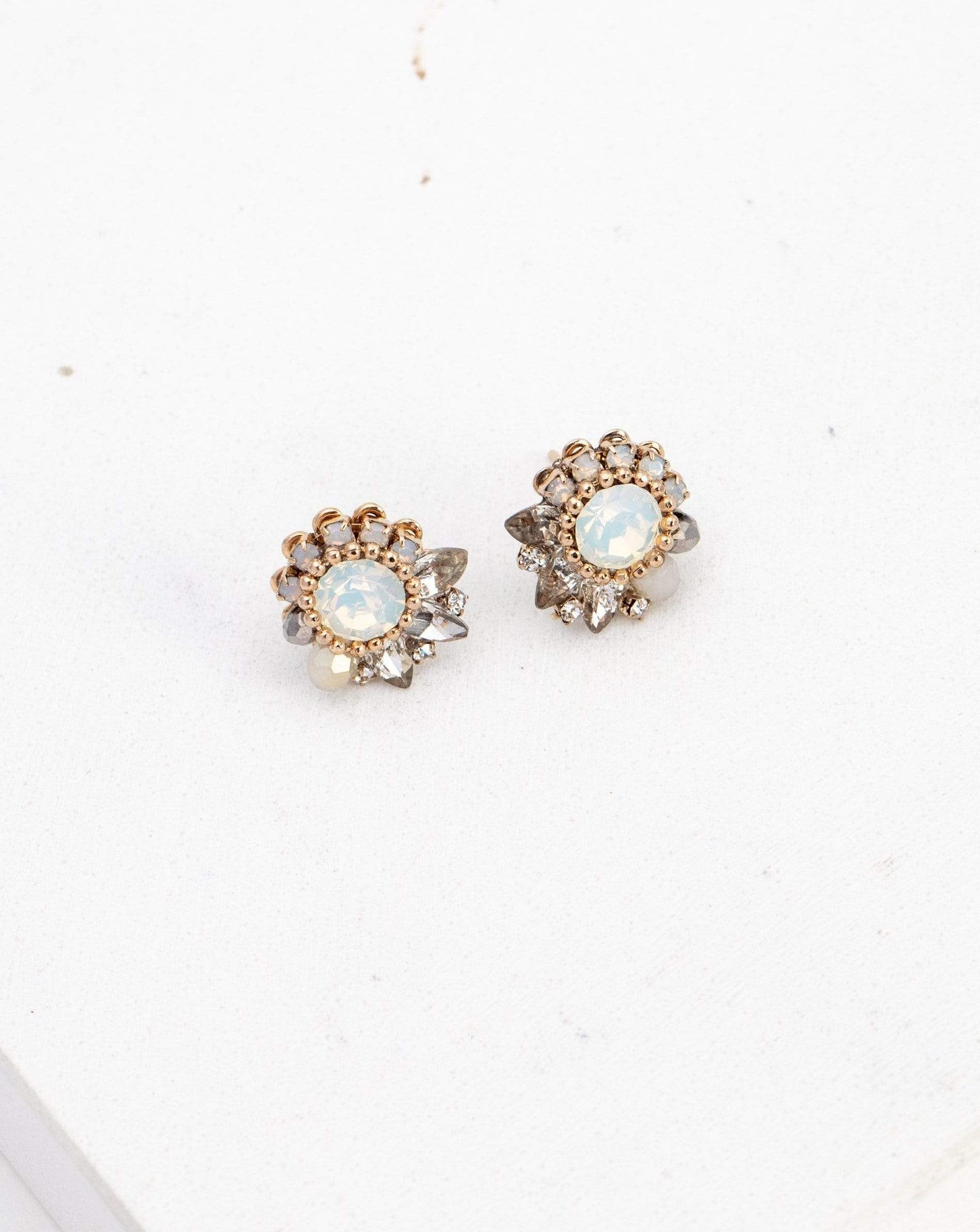 Amelia Crystal Post Earrings - White Opal