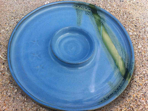Mosquito Mud Pottery:  Oil Dipping Dish (Shown in Blue)