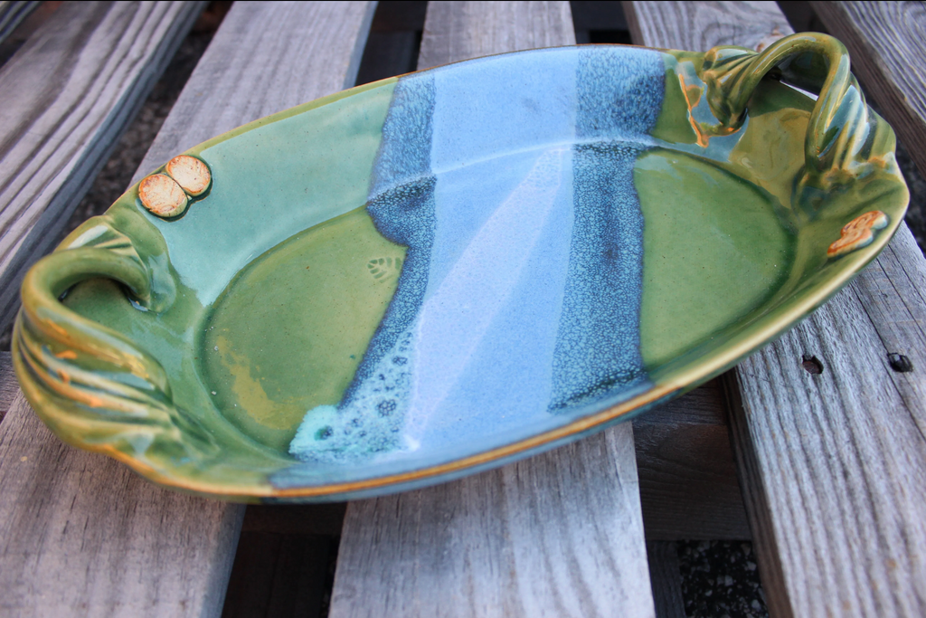 Mosquito Mud Pottery:  Oval Bowl (Shown in Evergreen)