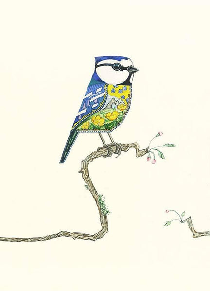 Bluetit, decorative style watercolour painting