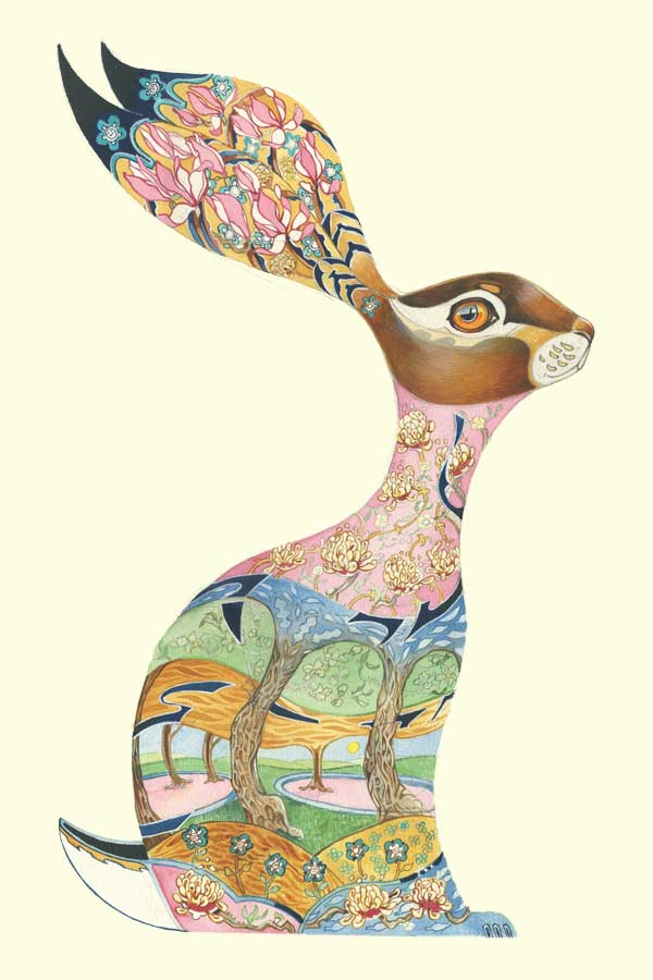 Hare design with floral design inside