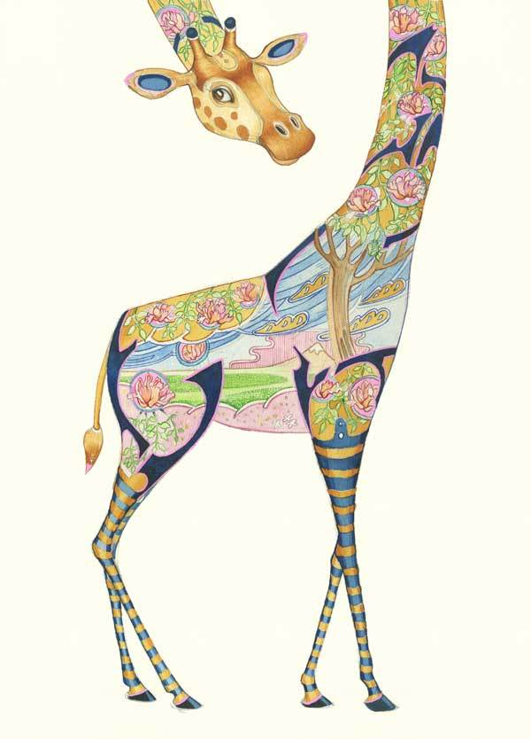 Giraffe with long neck - decorative pattern inside