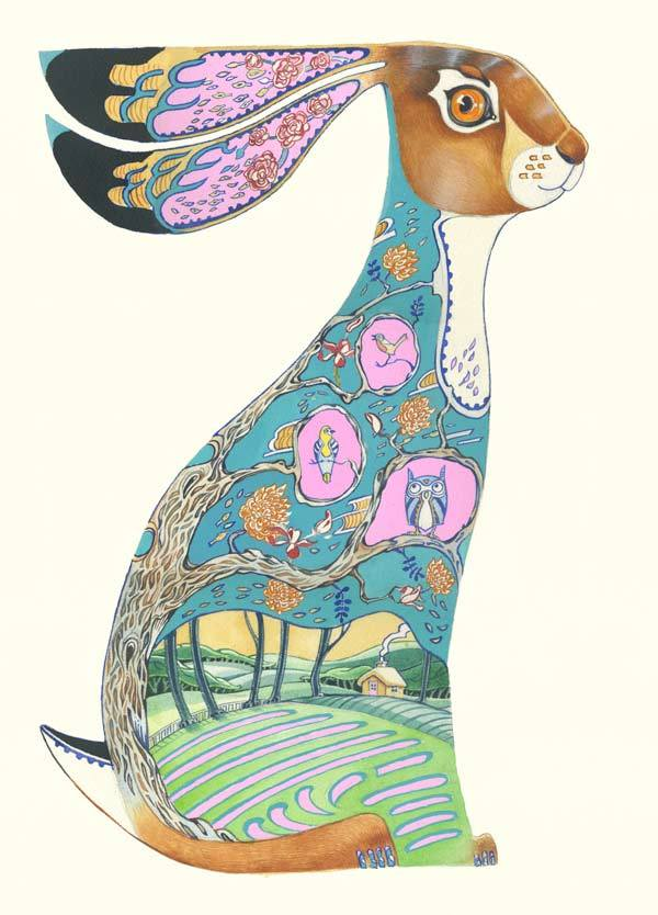 Hare  Greetings Card design- Blue and prink
