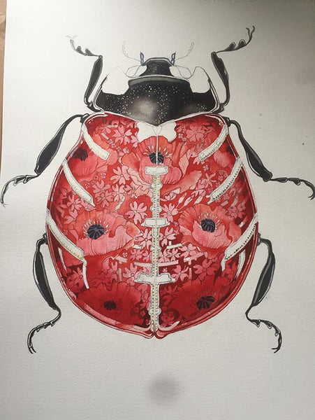 Ladybird watercolour in progress