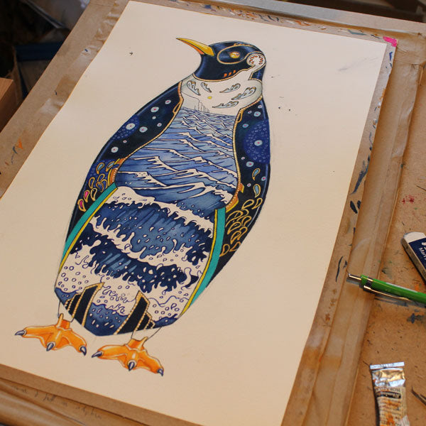 Penguin with seascape interior painting in progress