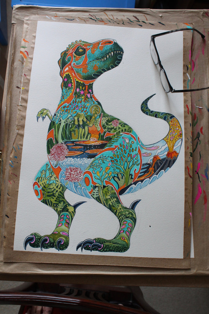 T rex painting with jurassic landscape