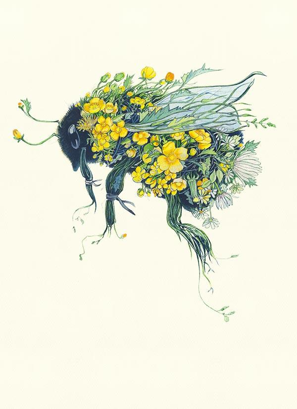Bumblebee made out of flowers