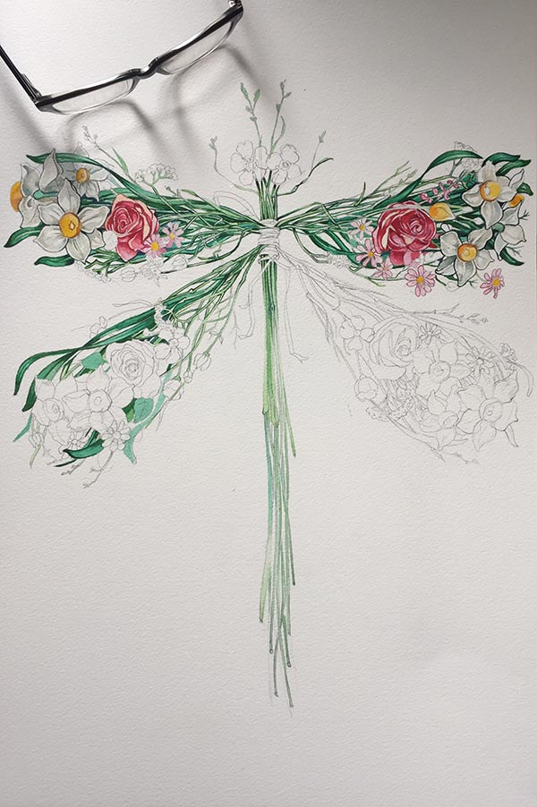 Dragonfly watercolour in progress- Daniel Mackie