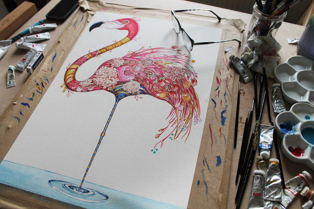 Flamingo Painting in pinks and golds