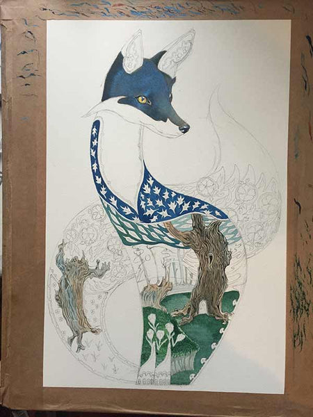 Fox at night in progress
