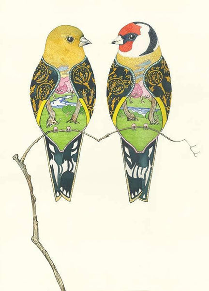 Goldfinches- symbolic bird - Greetings Card The DM Collection